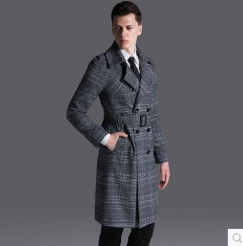 c4db5708eac S 6XL 2017 New Vintage grid trench coat Men s clothing loose fashion long  design plus size double breasted overcoat outerwear-in Trench from Men s  Clothing ...