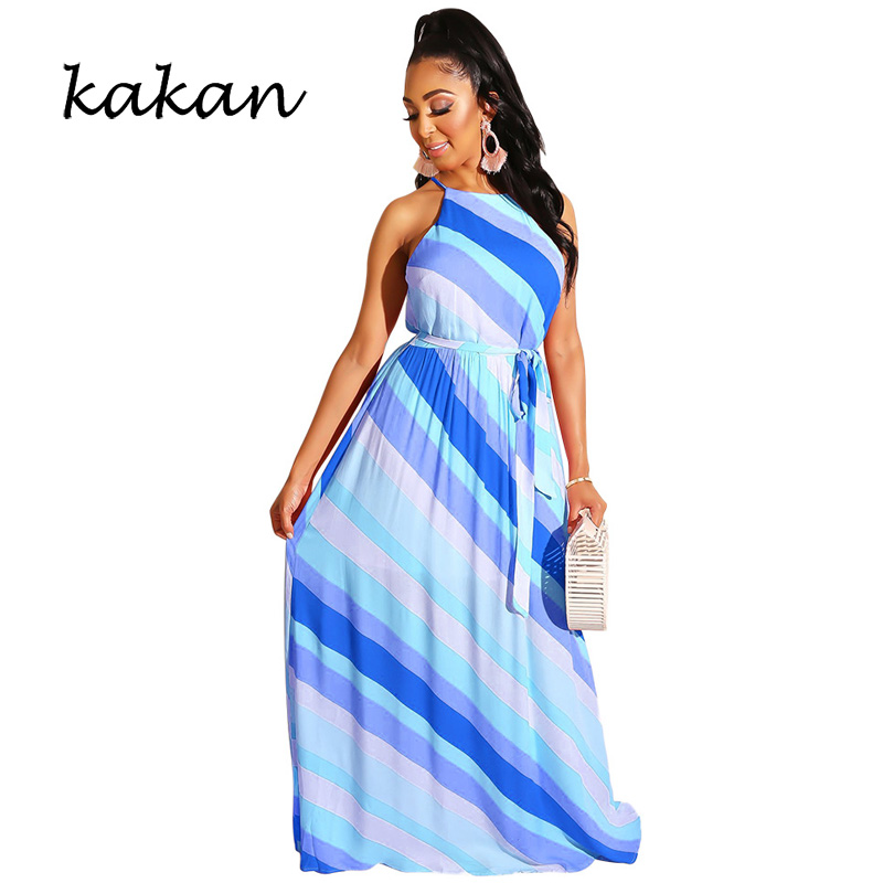 Kakan Fashion casual multicolor dress 2019 summer new best women 39 s print long dress in Dresses from Women 39 s Clothing