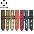 Handmade Lona Jean e Itália Genuine Leather Assista Bracelete 24mm Pulseira Estilo Vintage