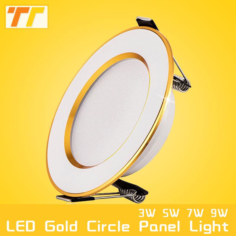 led downlight Golden circle 3w 5w 9w 12w 15w 18w 230V 220V ceiling recessed grid downlight
