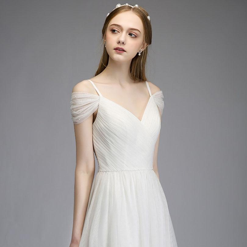 2018 Elegant Spaghetti Tulle Bridesmaid Dresses Off the Shoulder Long Wedding Party Dress 4