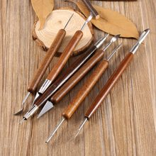 6pcs Clay Sculpting Set Wax Carving Pottery Tools Sculpt Smoothing Polymer Shapers Modeling Carved Tool Wood Handle Set(China)