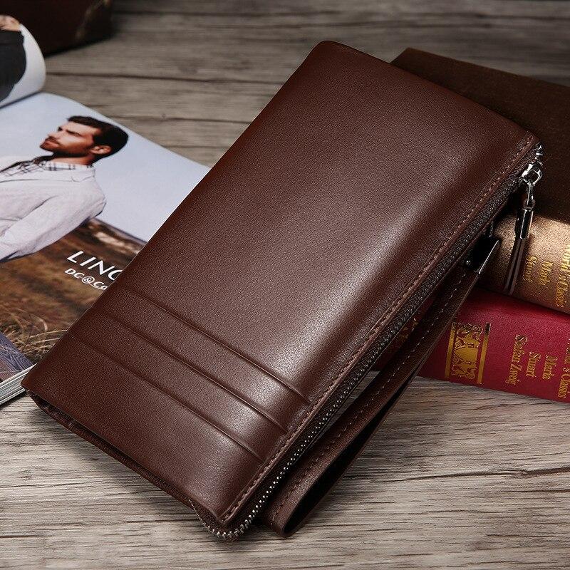 все цены на New Brand Designer Men Wallet Cow Split Leather Men's Long Wallet Clutch Bag Black Wallets Simple Zipper Purses Card Holder онлайн
