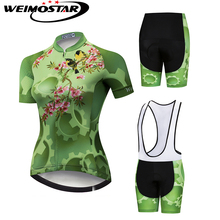 Green Clothing WEIMOSTAR Women Cycling Jersey 2019 pro team Ropa ciclismo Cycling Clothing Cycling Set cycling kit cheap Polyester Jersey Sets Short Sleeve 80 Polyester and 20 Stretch Spandex 100 Polyester Full CD5817 GEL Breathable Pad