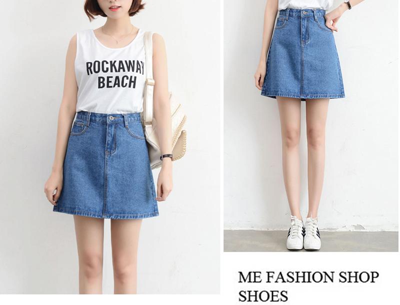 Lucyever Fashion Korean Summer Women Denim Skirt High Waist Black Mini Skirts Package Hip Blue Jeans Harajuku Plus Size Cotton 12