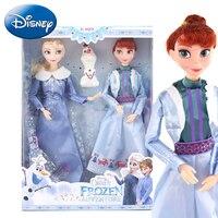 Disney 2019 Kids Girl Plush Toys Doll Frozen Anna Elsa Stuffed Princess Dress Up Toys Kid Cartoon DIY Model Child Birthday Gift