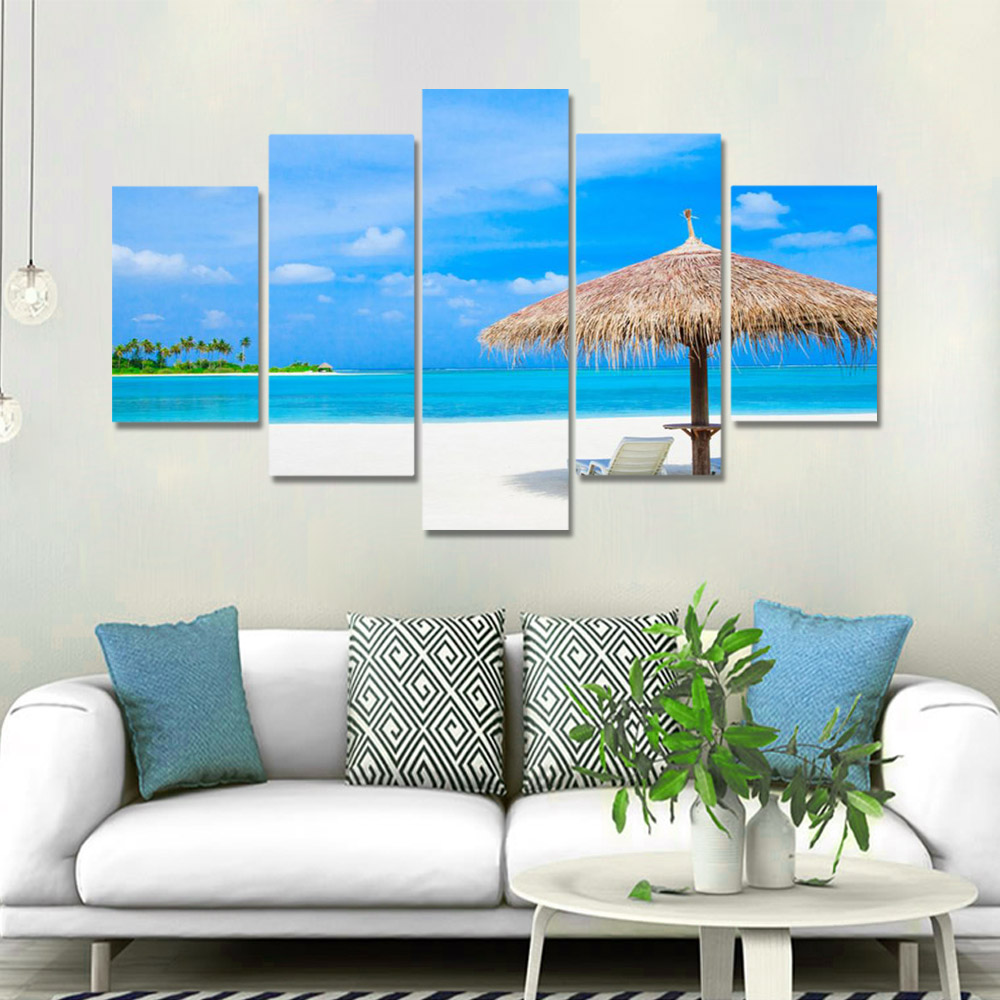 Unframed HD Canvas Prints Blue Sky And White Clouds Beach Seascape Prints Wall Pictures For Living Room Wall Art Decoration