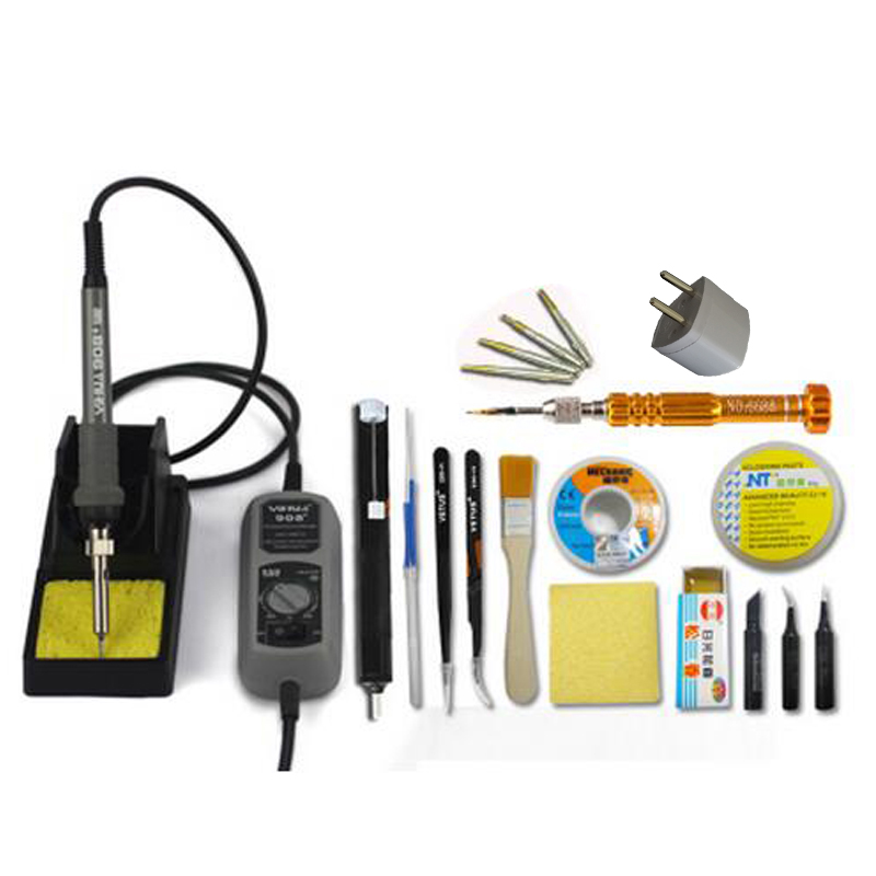 Thermostatic Electric 220V 60W Solder Soldering Iron Welding Soldering Station With Solder Sucker Iron Tips Tin Wire