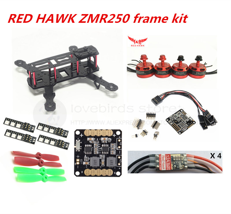 DIY FPV race mini drone ZMR250 frame kit pure carbon frame + RED HAWK DX2205 2300KV + RED HAWK BL ESC OPTO + NAZE32 10DOF diy fpv mini drone qav210 zmr210 race quadcopter full carbon frame kit naze32 emax 2204ii kv2300 motor bl12a esc run with 4s