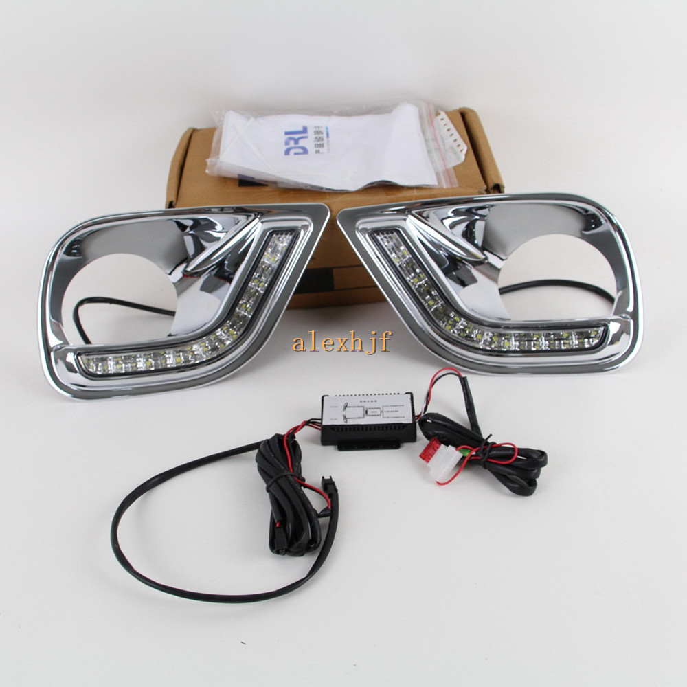 July King LED Daytime Running Lights DRL With Fog Lamp Cover Case for Toyota RAV4 2013~2016,  LED Front Bumper Fog Lamp, 1:1 for opel astra h gtc 2005 15 h11 wiring harness sockets wire connector switch 2 fog lights drl front bumper 5d lens led lamp