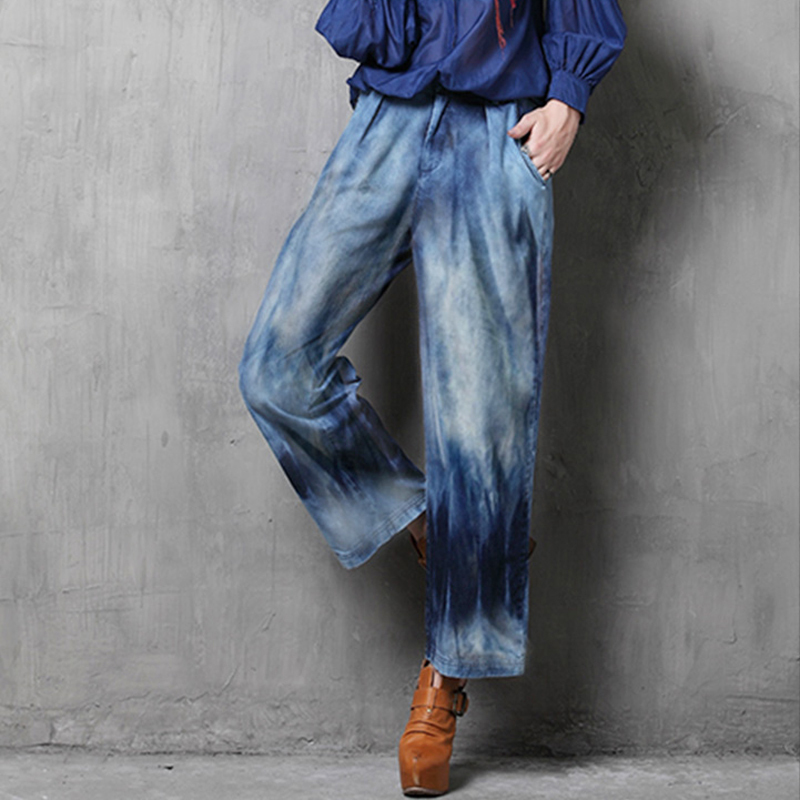 2016 New Vintage Delicate Women Pants jean Boyfriend All match Casual Pockets Wide Leg Pants Brand