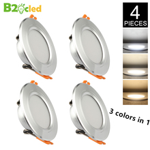 hot deal buy 4pcs 3 colors change led downlight cool/neutral/warm white light 4w 85-260v ceiling panel lights retrofit recessed lighting
