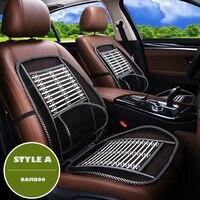כיסוי מושב מכונית GEEAOK 1 pc קיץ מגניב אוטומטי תמיכה המותני כרית מושב רכב במבוק מכונית מגן כיסוי מושב מכונית שחור סטיילינג