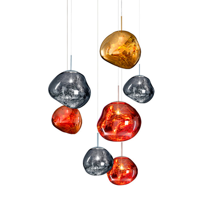 Modern Tom Dixon Melt Pendant Lights Glass Lava Irregular Silver Gold Copper Mirror Hang Lamp For Living Room Lighting Pendant Lights