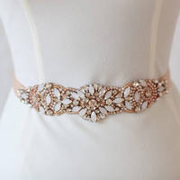 1 pc Iron on Opal rhinestone beaded bridal belt applique in rose gold , clear crystal sash motif accessories 5 x 22 cm