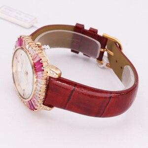 Image 4 - Роскошные женские часы с перламутровыми стразами, японские кварцевые часы, модные часы с кристаллами из натуральной кожи, подарок на день рождения, коробка Melissa