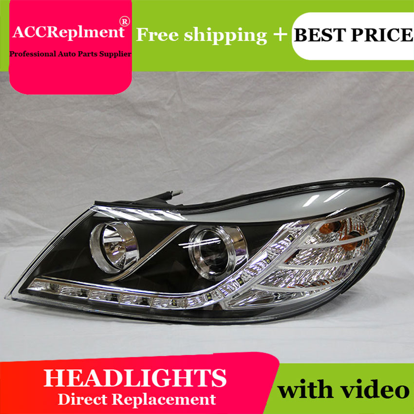 AUTO PRO 2010 11 12 For skoda octavia headlights car styling U LED light guide Angel eyes DRL parking For octavia a 5 head lamp