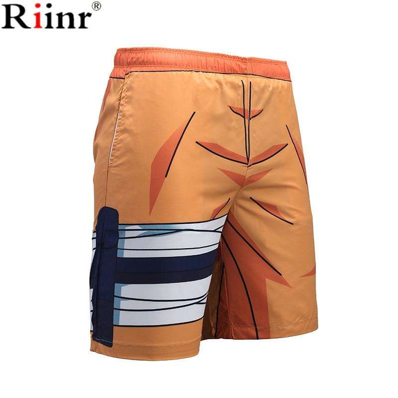 Riinr 2018 Casual New Arrival Men's Beach   Shorts   High Quality Vacation Beach   Shorts   Naruto Design Knee Length Pants   Board     Shorts