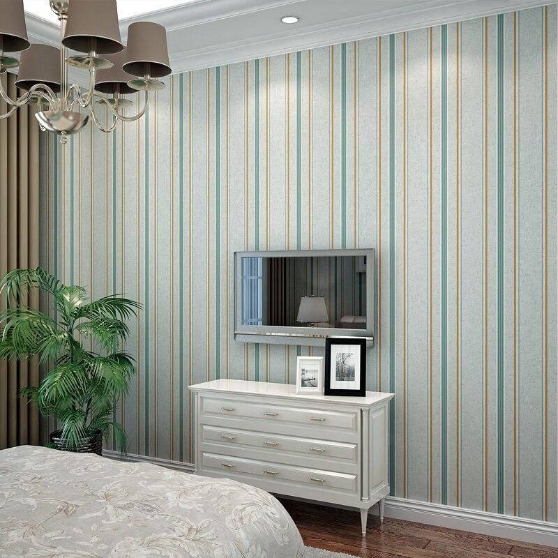 Moderne blauw grijs vintage geel beige zijde streep behang roll verticale strip wallpapers non - Grijs muurschildering ...