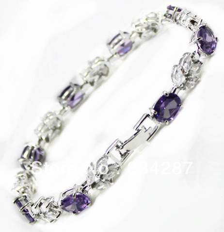 Hot sell Noble- fast shipping Fine Jewelry CZ Crystal + Amethyst Bracelet