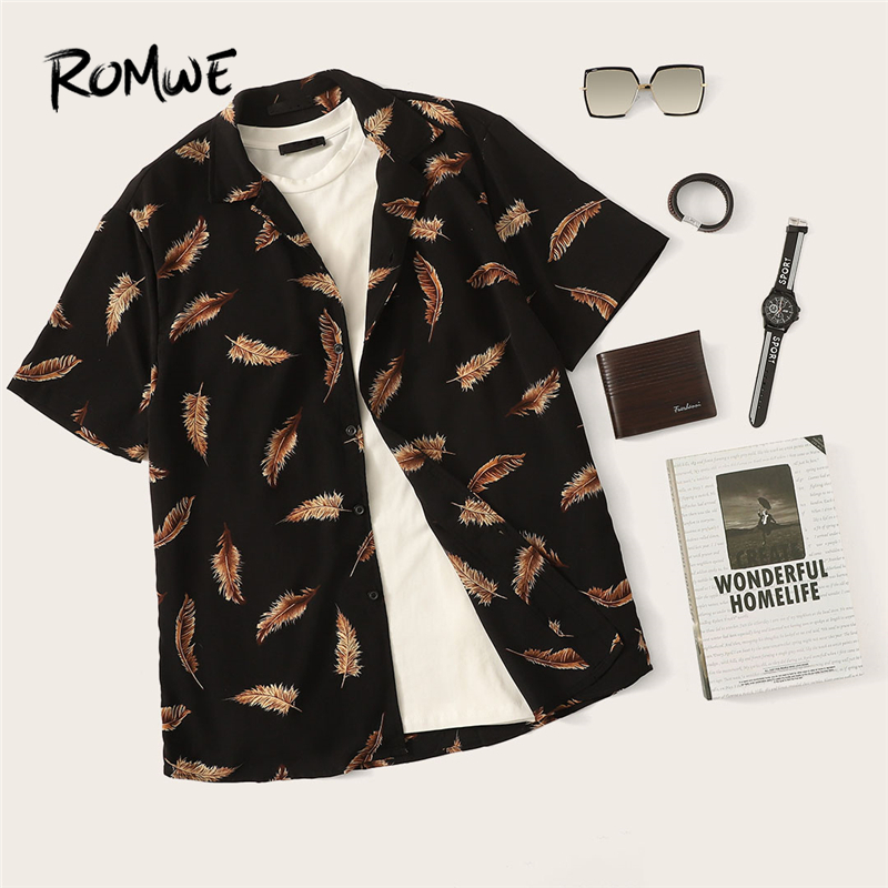 ROMWE Men Allover Feather Print Buttoned Shirt 2019 Fabulous Black Summer Short Sleeve Shirts Comfy Single Breasted Blouse