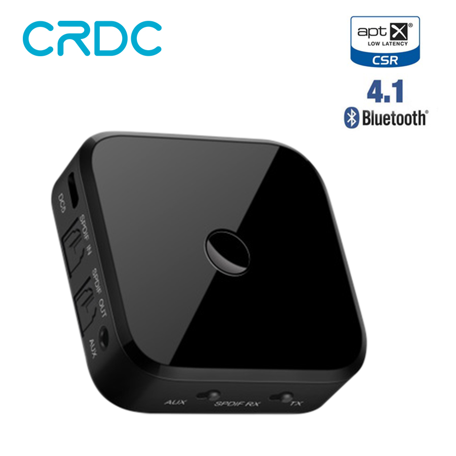 Émetteur récepteur Audio Bluetooth CRDC 3.5mm adaptateur stéréo sans fil Aptx avec Toslink/SPDIF optique pour casque haut-parleur TV