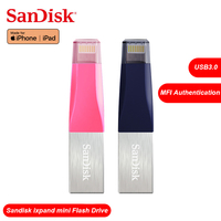 SanDisk OTG USB Flash Drive 128G Pen Drive 64G 3.0 PenDrive 32GB 16GB double interface for iPhone iPad APPLE MFi 100% Original