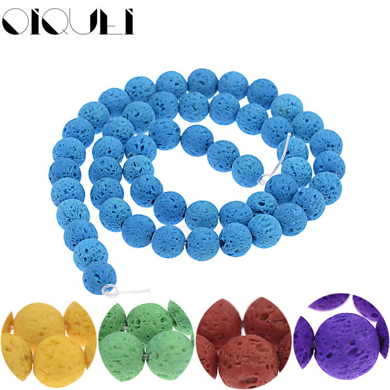 OIQUEI 1 Strand 8mm Colorful Natural Lava Stone Beads Volcanic Rock Round Loose Spacer Beads For DIY Jewelry Bracelet Making