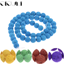 OIQUEI 1 Strand 8mm Colorful Natural Lava Stone Beads Volcanic Rock Round Loose Spacer For DIY Jewelry Bracelet Making