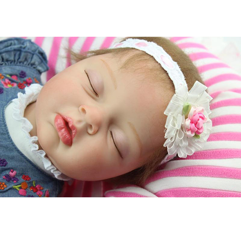 22 Inch Doll Toy Wear Denim Dress Soft Silicone Reborn Babies 55 cm Lifelike Asleep Baby Dolls For Sale Girl Birthday Xmas Gifts smile reborn girl with blue dress 22 lifelike baby dolls soft silicone fashion kids toy xmas gifts reborn baby doll for sale