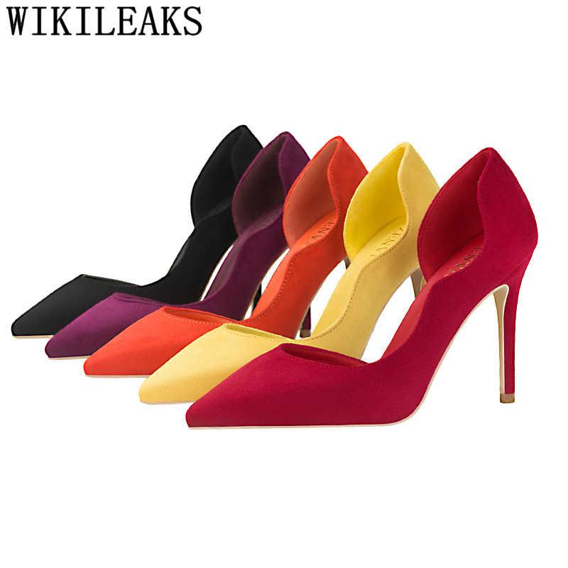 Parti ayakkabıları fetiş yüksek topuklu kadın ayakkabı pompaları Extreme yüksek topuklu sandalet kadın zarif ayakkabılar sarı topuklu yeni varış 2020
