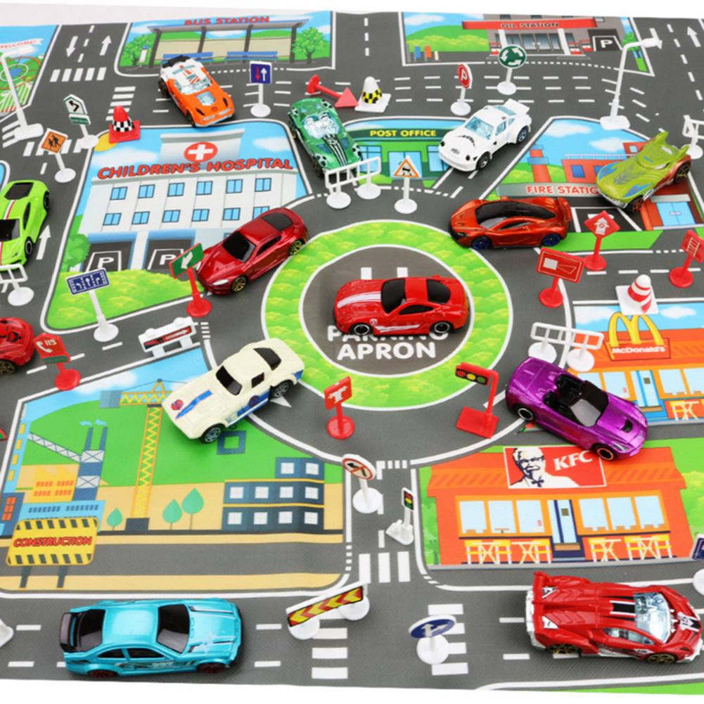 Image 2 - Children DIY Car Parking Map Toys 83 x 58CM Baby Climbing Playing Mats Kids Toys City Parking Lot Roadmap Map English Version-in Play Mats from Toys & Hobbies