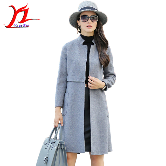 European Women's Dress Double Cashmere Outer Garment Autumn Slim Long Female 100% Wool Coat Stand-up Collar Single Button Warm