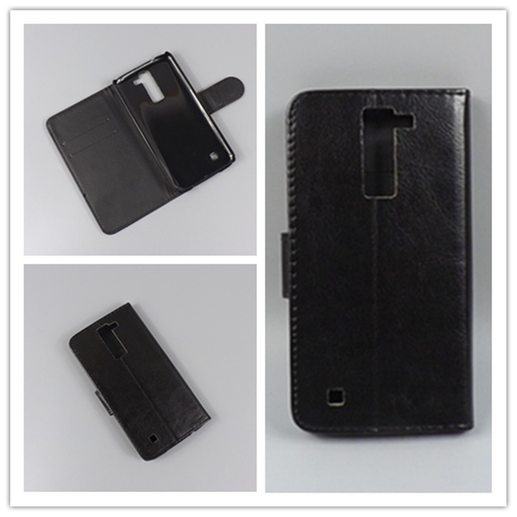 Crystal grain wallet case hold two Cards with 2 Card Holder and pouch slot For LG Tribute 5 K7 M1