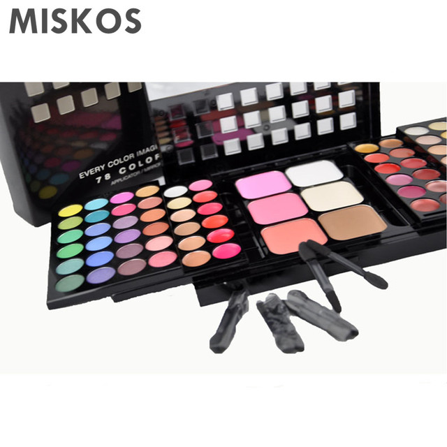 78 Color Palette – Set of 48 Eyeshadow + 24 Lip Gloss + 3 Foundation Face Powder + 3 Blush Makeup Kit