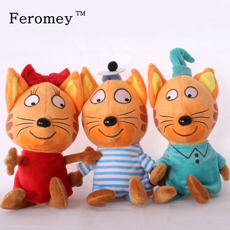 Russian Cartoon Three Kittens Plush Doll Toys Happy Kittens Cat Stuffed Toys Soft Animals Cat Toy Doll Kids Children Gifts 3 pusheencat plush toys donuts cat with food style plush pendant keychain soft stuffed animals toys doll for kids children gift