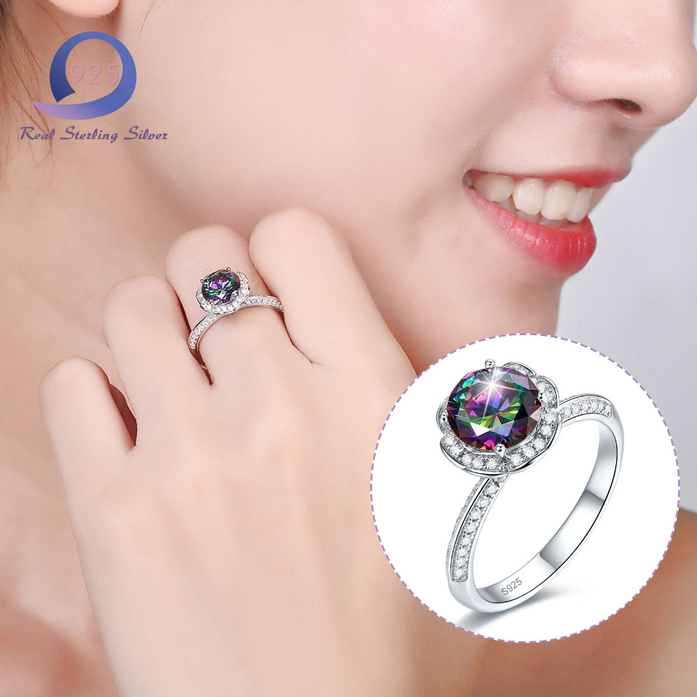 Merthus 925 Sterling Silver Rings Mystic Rainbow Women Solitaire ...