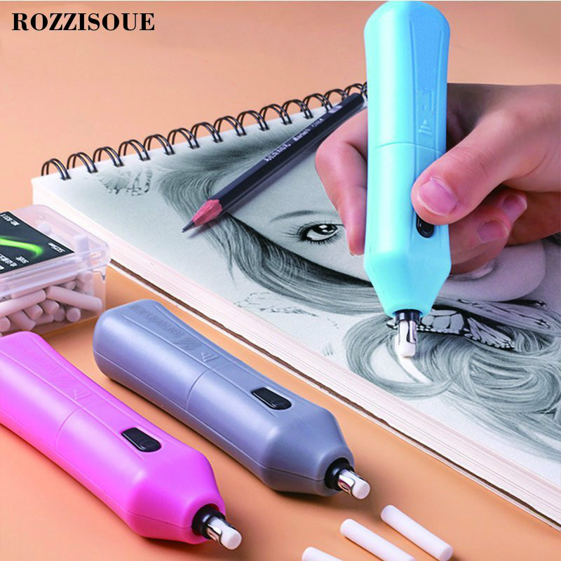Electric Eraser Automatic Rotation School Supplies Stationery Child Day Gift Material Escolar Sketch Painting Correction Tool