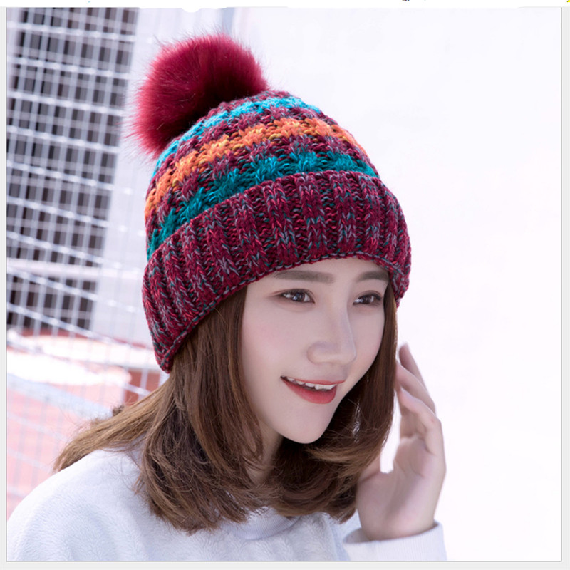 44d5d4e7 2019 Autumn/Winter Hat Ladies Frilly Woollen Hat Thickened With ...