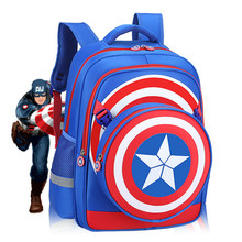 Super Hero Captain America Cartoon School bags Primary School bag 6-12 Years Old Ridge Reducer Child kids school bag Backpack цена 2017
