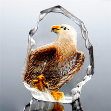 3.5inch Glass Crystal Eagle Figurines Paperweight Crafts Collection Table Ornaments Souvenir Collection Home Wedding Decoration