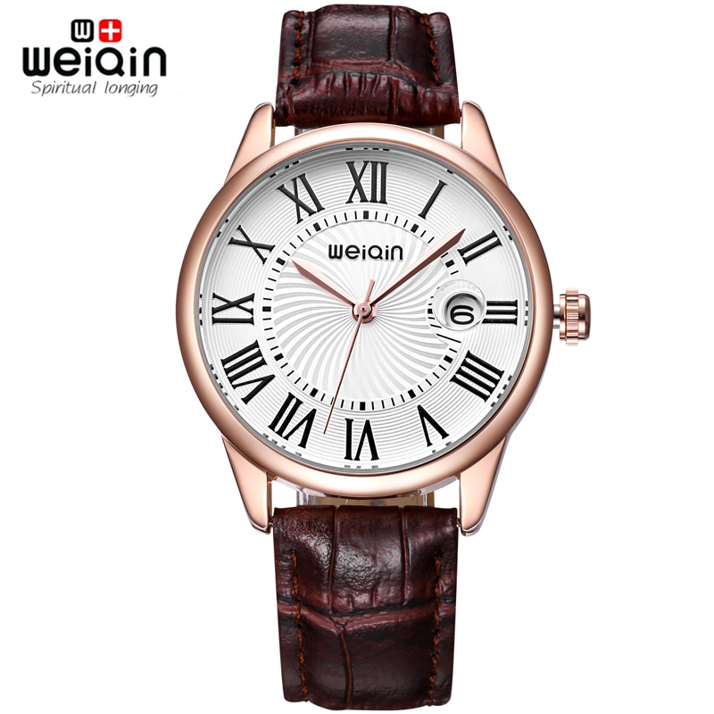WEIQIN Rose Gold Case Coffee Leather Watches Women Roman Style Fashion Watch Ladies Date Quartz-watch Hour Reloje Mujer Relogios
