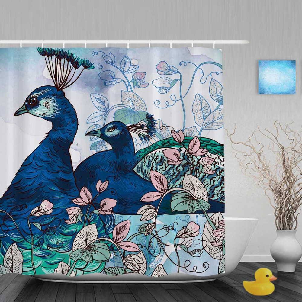 Peacock bathroom decor - Floral With Blue Peacock Decor Bathroom Shower Curtains Gift For Couple Shower Curtain Waterproof Polyester Fabric