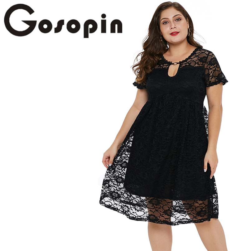 Gosopin Plus Size Lace Party Dresses O Neck Trapeze Babydoll Sexy Midi Dress Elegant Club Summer Dresses 2019 Hollow Out 220543 semi formal summer dresses