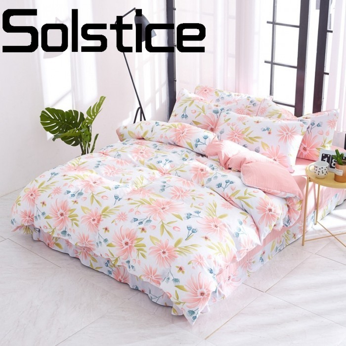Solstice Home Textile Skin-friendly Breathable Flower Comfort Fabric Responsive Printing Bed Sheet Quilt Cover Pillowcase