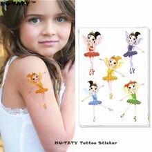 Nu-TATY Flash Cute Princess Child Temporary Tattoo Body Art Flash Tattoo Stickers 15x10cm Waterproof Henna Styling Wall Sticker