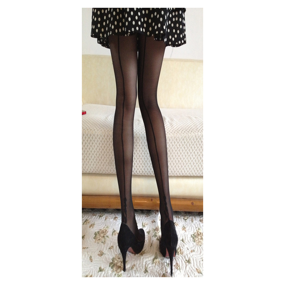 New Women Sexy Lace Stockings Pantyhose English Love Letter Tattoo Jacquard Tights (Black)