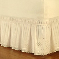 polyester/cotton beige/white embroidered no bed surface elastic band bed skirt bedspread 37cm height bed apron free shipping