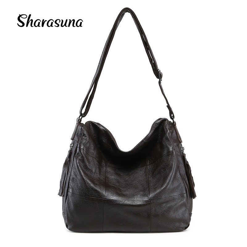 New Fashion Tassel Zipper Ladies Hand Bag Women's Genuine Leather Handbag Large Capacity Tote Bag Female Crossbody Shoulder Bag 2018 new style genuine leather woman handbag vintage metal ring cloe shoulder bag ladies casual tote fashion chain crossbody bag