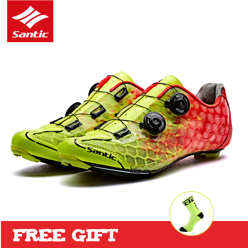 SANTIC Road Cycling Shoes with Carbon Fiber Outsole Mens Pro Racing Team Bike Shoes Ultralight Bicycle Shoes Sapatilha Ciclismo santic road cycling shoes ultralight carbon fiber pro bike road shoes self locking athletic bicycle shoes sapatilha ciclismo